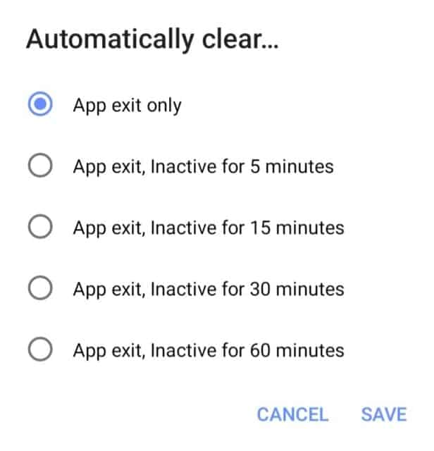 duckduck go automatically clear timings