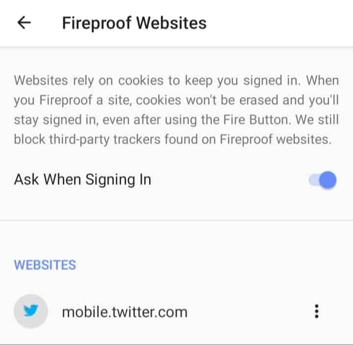 duckduckgo fireproof websites