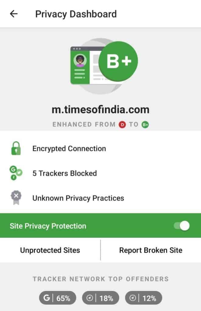 uckduckgo privacy dashboard