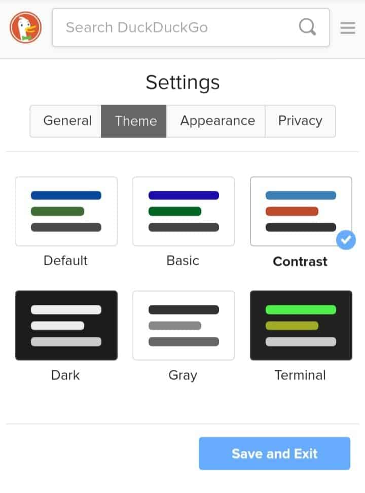 duckduckgo theme settings