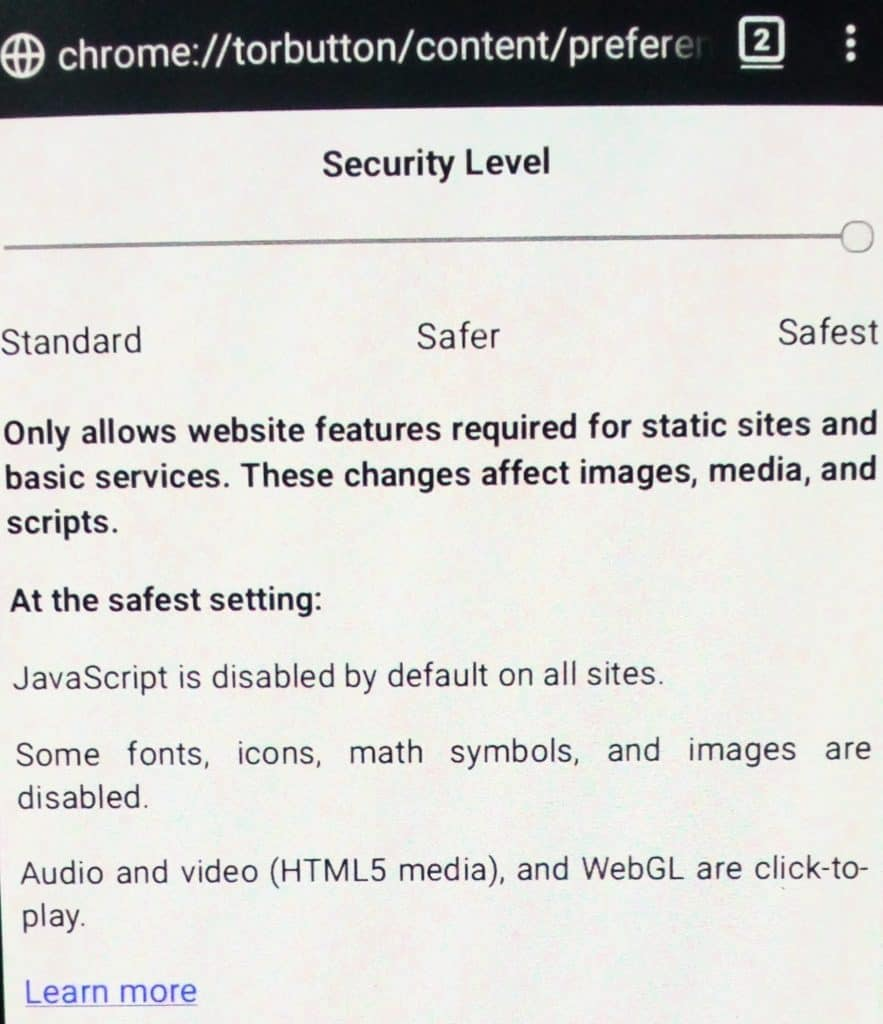 tor browser security level