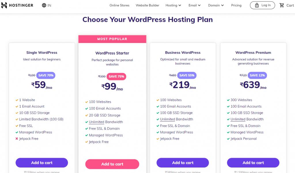 hostinger wordpress starter plan