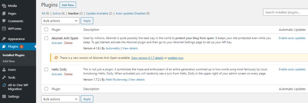 wordpress inactive plugins