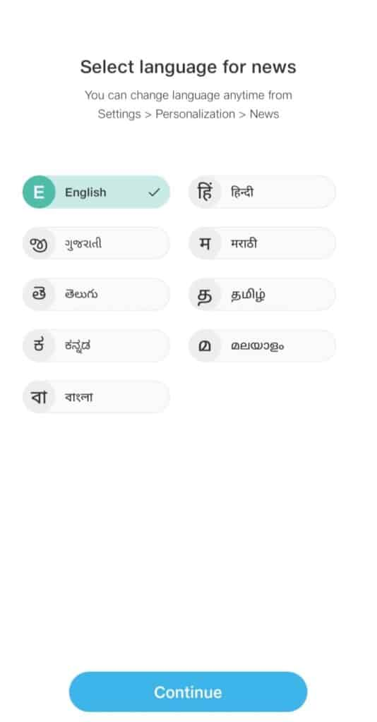 jio pages languages