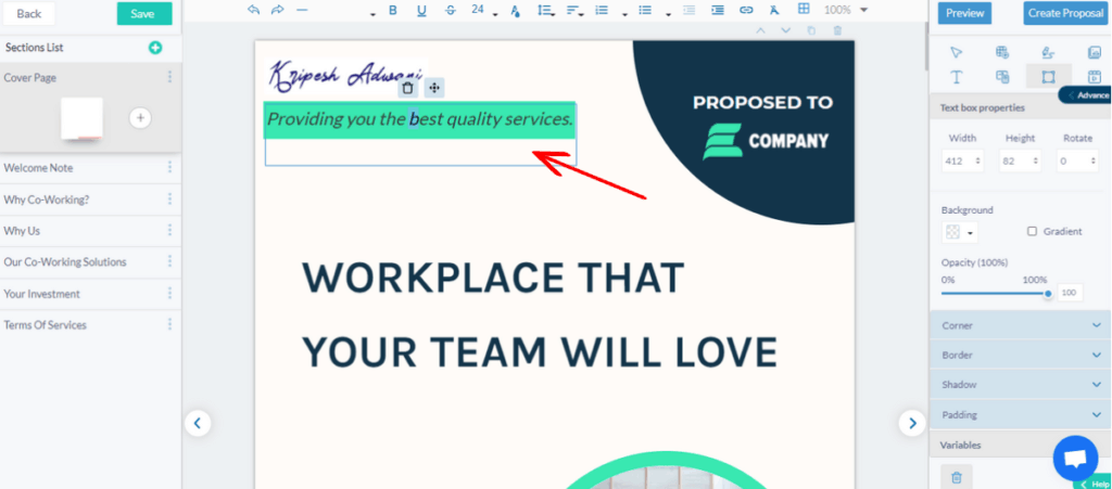 fresh proposals content box and shape