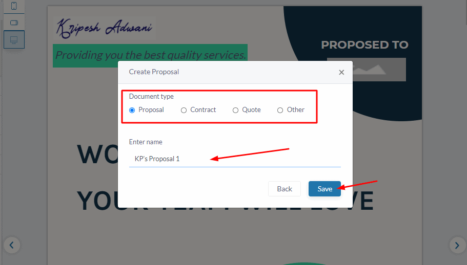 fresh proposals saving settings