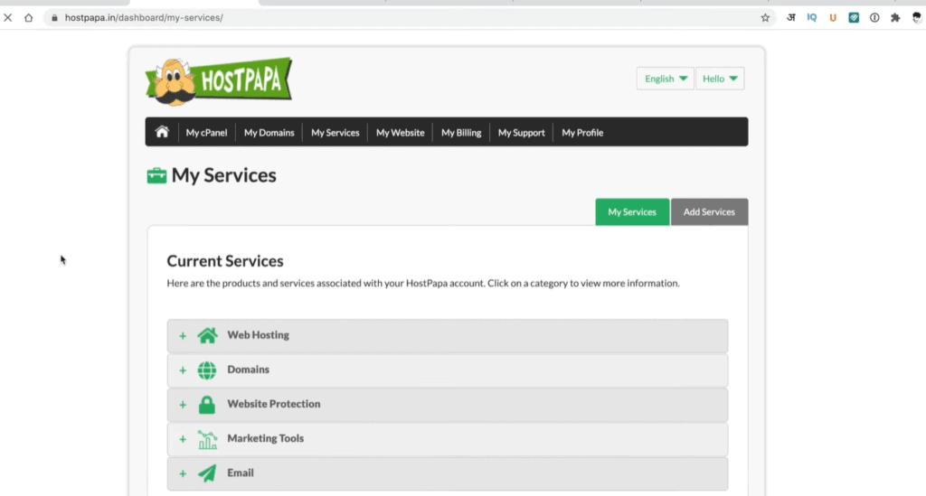 hostpapa interface