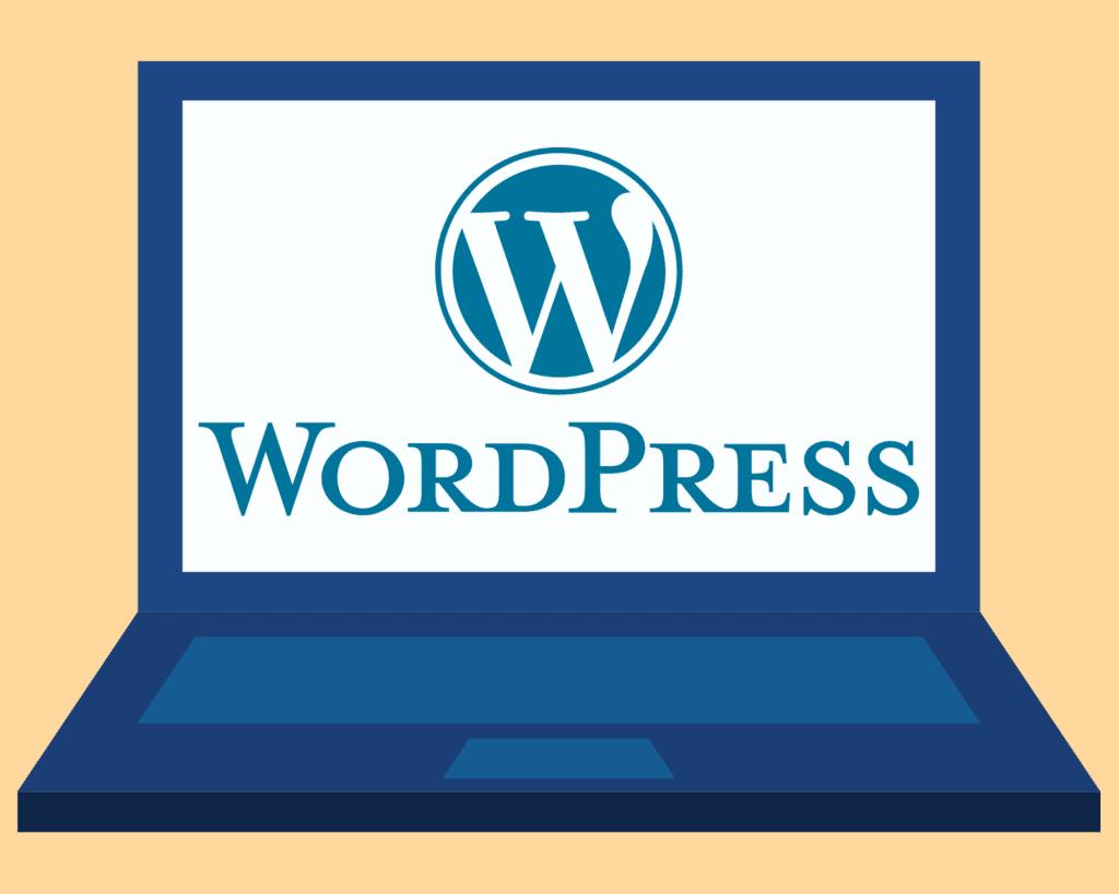 wordpress logo on laptop