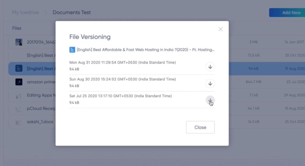icedrive file versioning