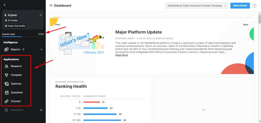 MarketMuse User Interface