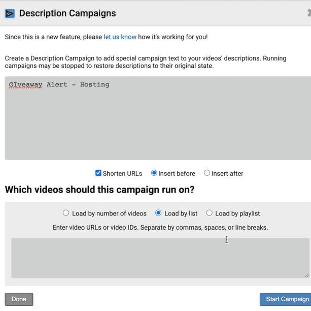 VidIQ Description Campaign