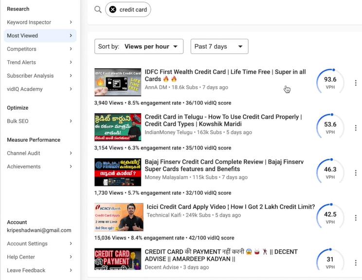 VidIQ Most viewed tab