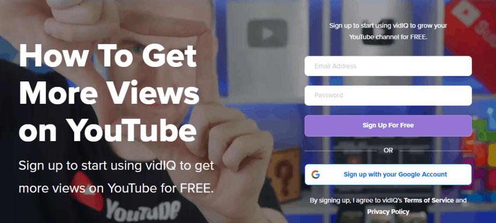 VidIQ homepage