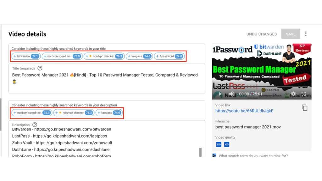 VidIQ keyword suggestions in boost