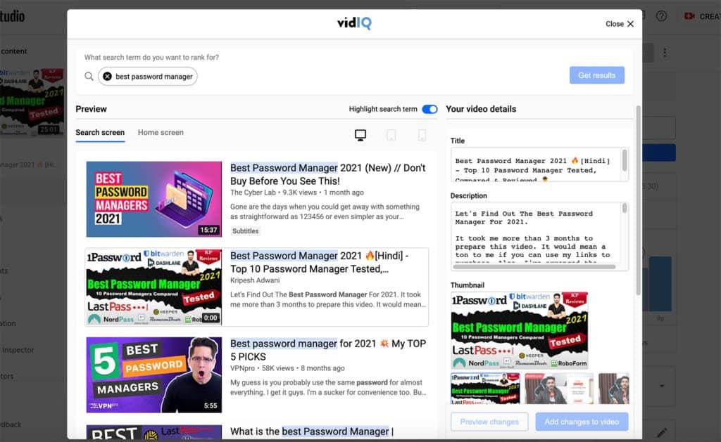 VidIQ preview thumbnail in search