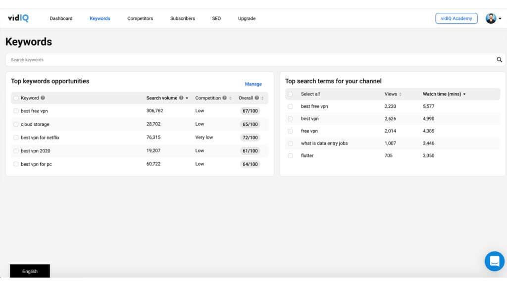 VidIQ web interface