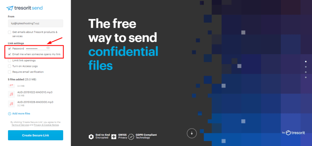 Adding files to Tresorit Send
