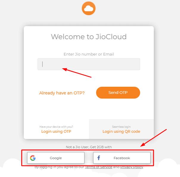 JioCloud sign up