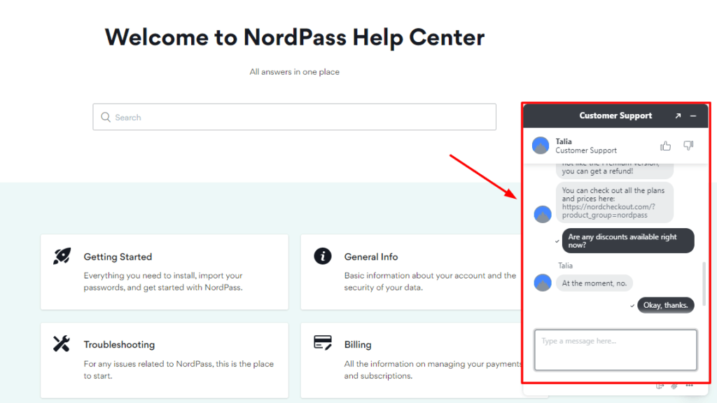 NordPass Live Chat Support
