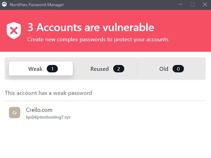 NordPass Password Reports