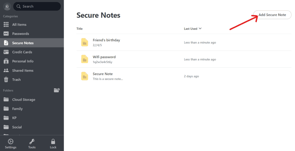 NordPass Secure Notes