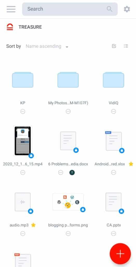 Treasure Cloud Mobile UI