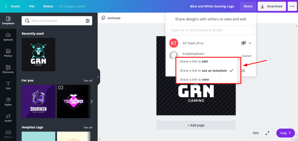 Canva Pro Share Templates