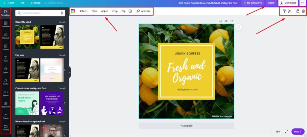Canva free editor