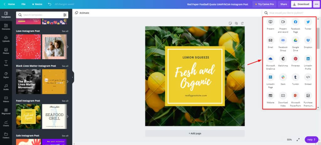 Canva free sharing options
