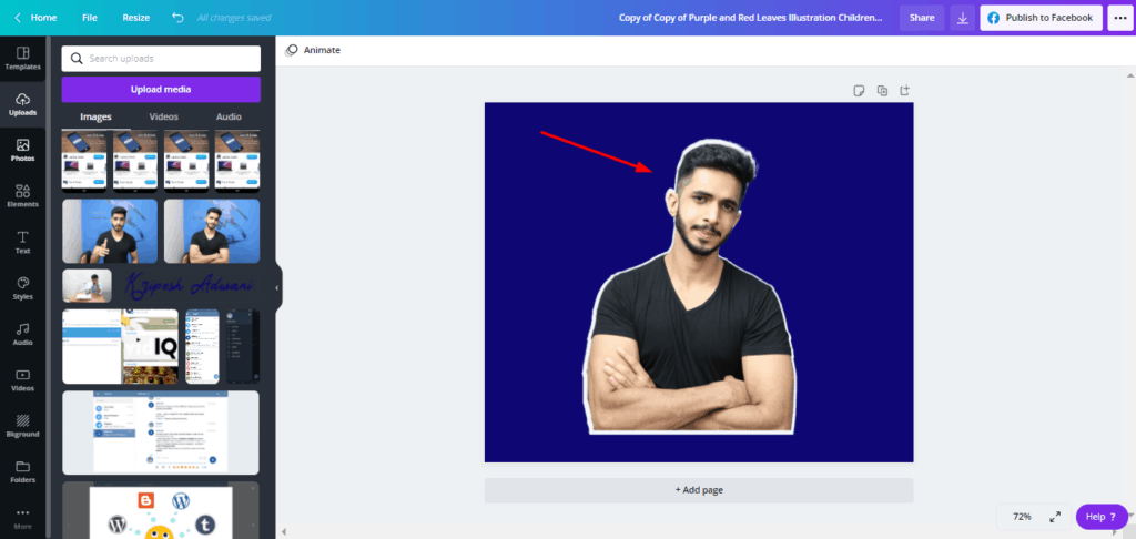 Canva highlight effect - change background and adjust images