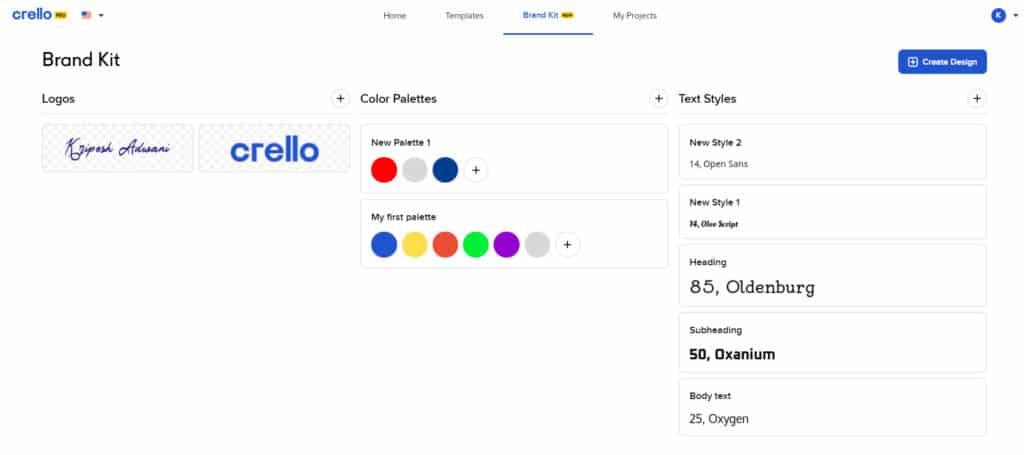 Crello Pro brand kit