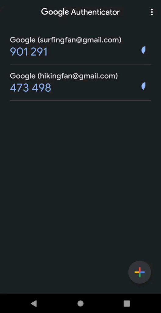 Google authenticator UI