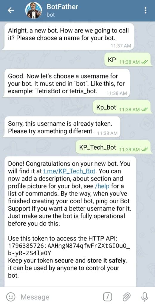 Naming your bot on Telegram