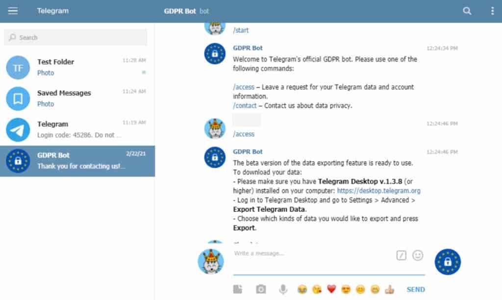 Telegram GDPR bot