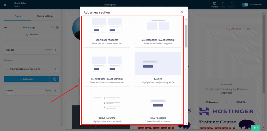 Thinkific home page builder