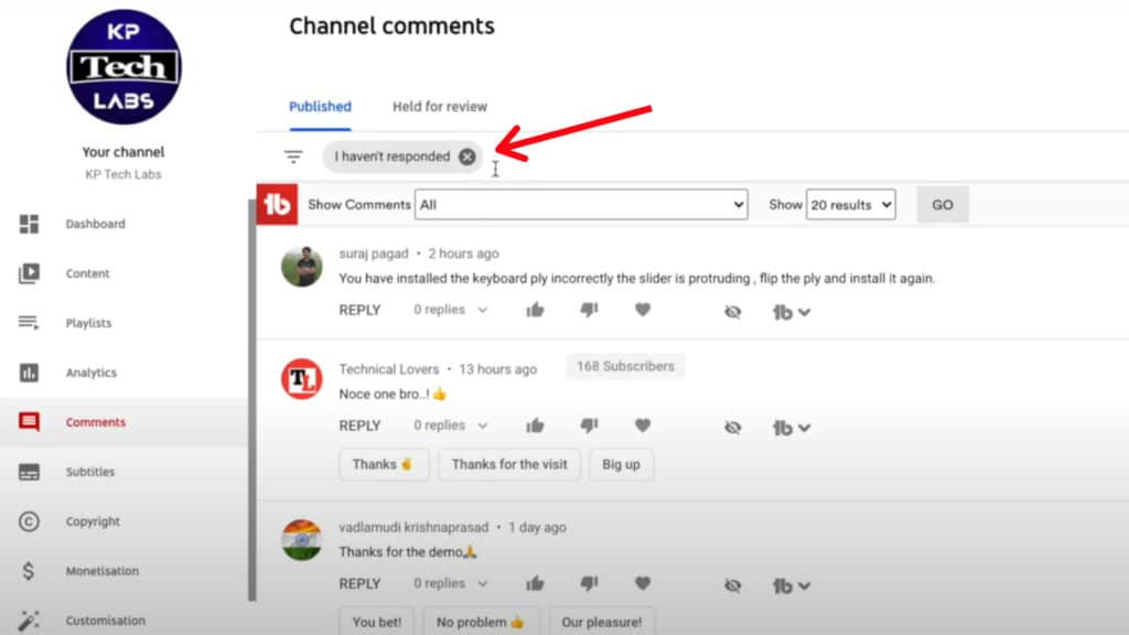 TubeBuddy Free plan - Comment Filters