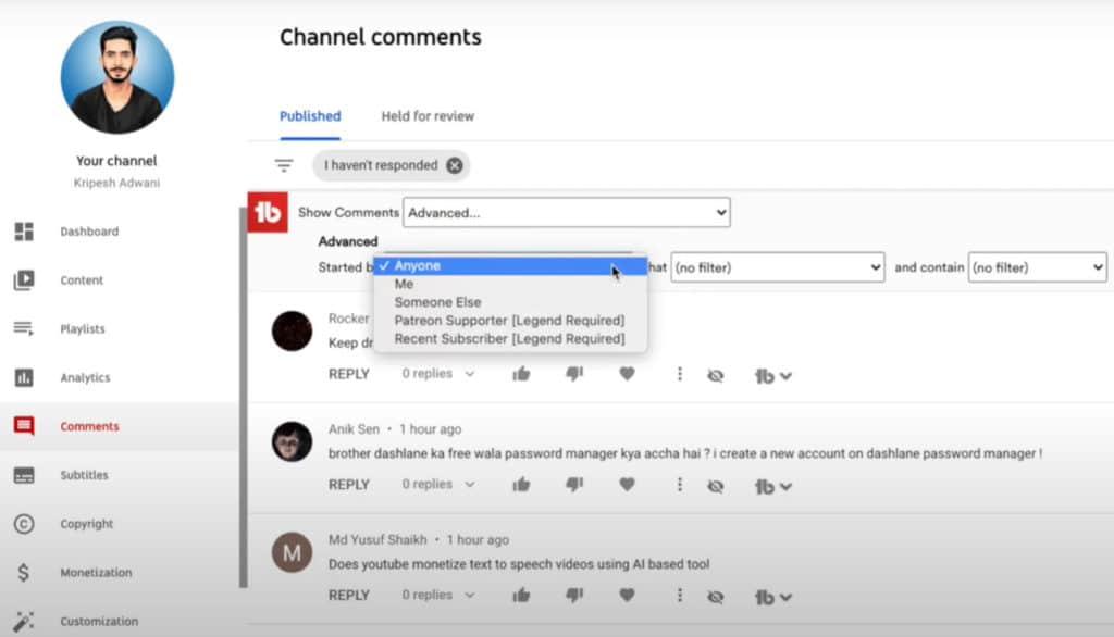 TubeBuddy Comment Management