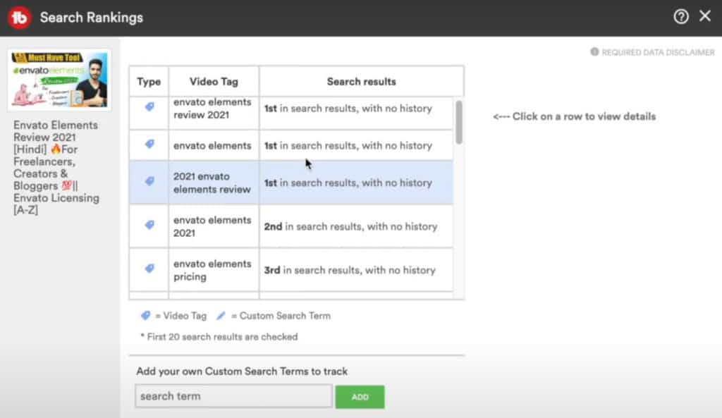 TubeBuddy Pro plan - Search Positions