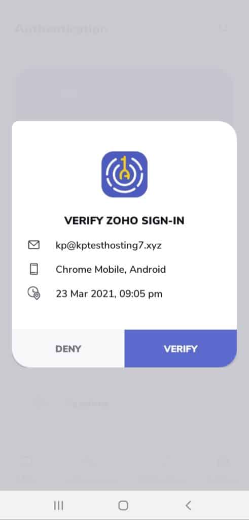 Zoho OneAuth Approval request