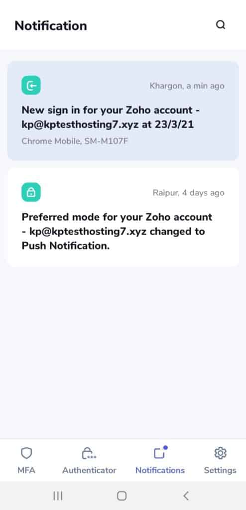 Zoho OneAuth Push Notification