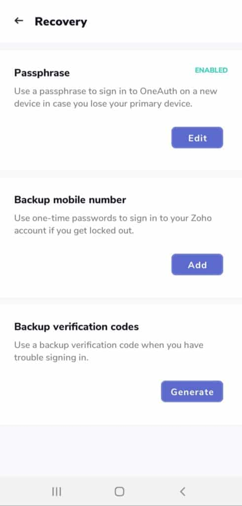 Zoho OneAuth Recovery options