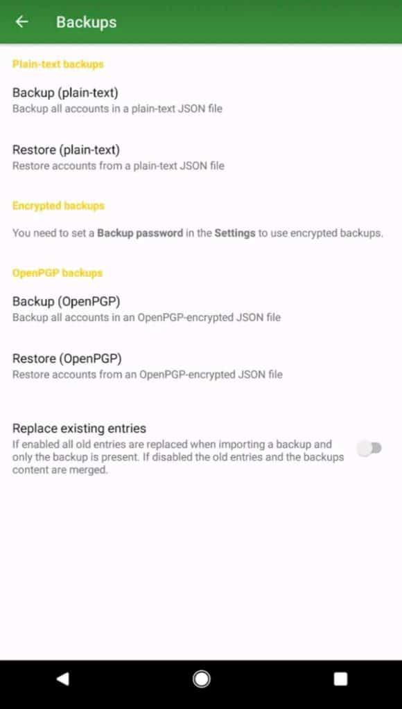 andOTP Backups