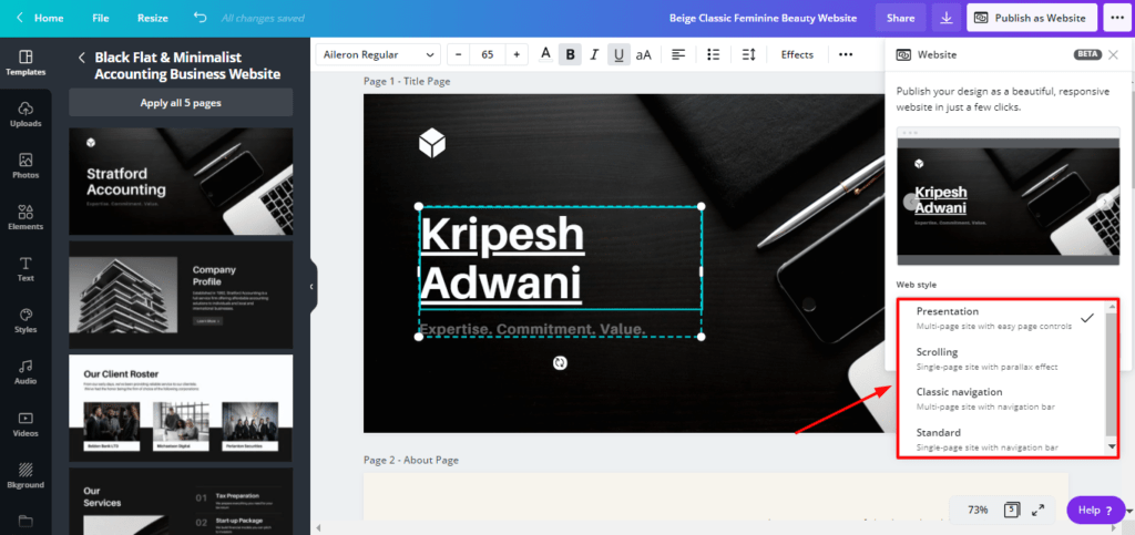 creating website with Canva