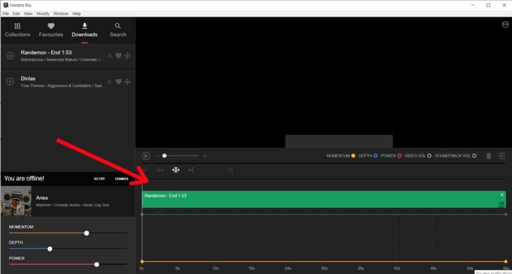 Drag audio to editor on Filmstro