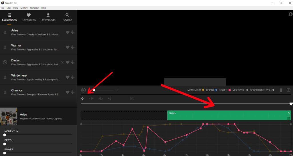 Filmstro move clip tool