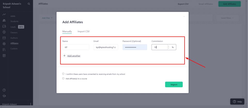 Teachable affiliates
