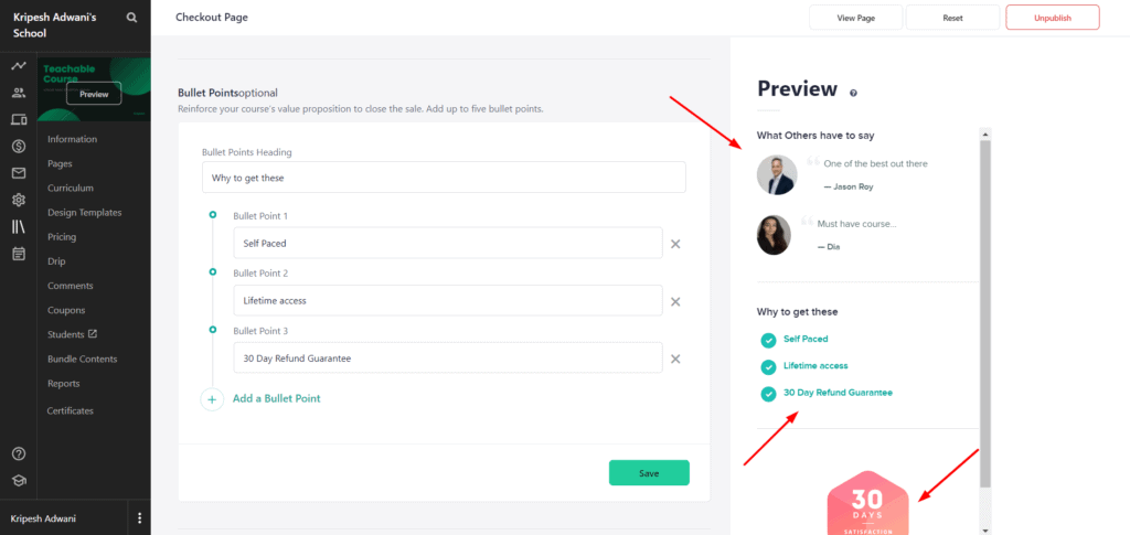 Teachable checkout page