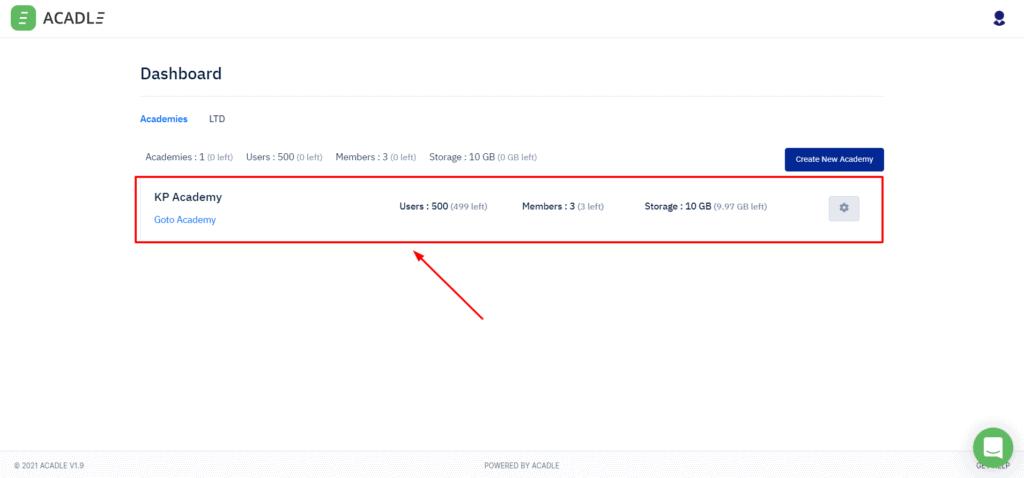 Acadle Admin interface