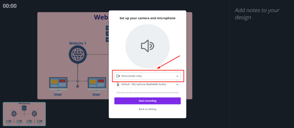 Audio only presentations in Canva