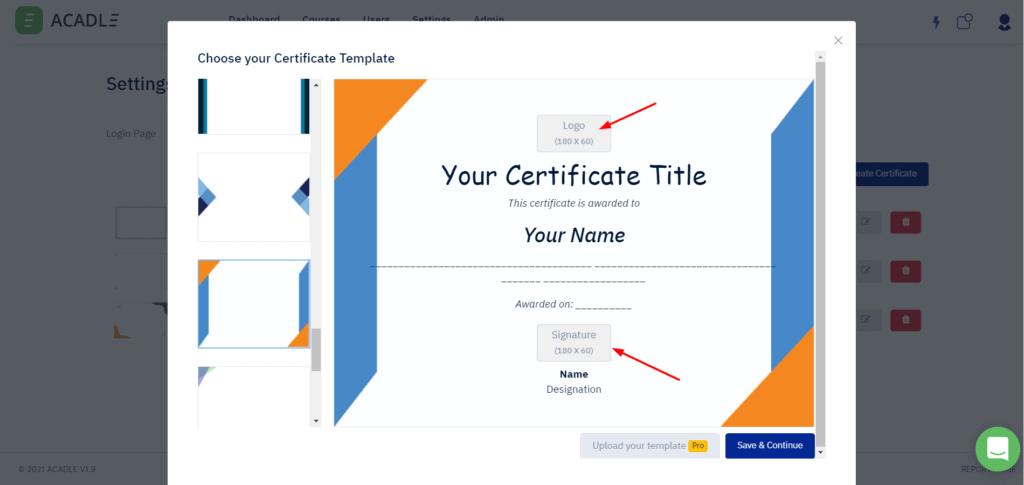 Certificates in Acadle